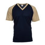 Contrast color raglan sleeve V-neck shirt