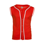 Sleeveless jersey with piping
